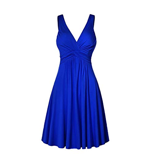 Women Plus Size Midi Dress,FAPIZI Ladies V Neck Retro Sling Dress Bridesmaid Pleated Slim Flare Skirt Dress Blue