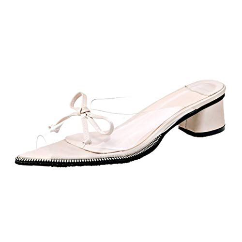 bredLily Ladies Pumps Female Shoes Woman Bow Knot Square Med Heels Point Toes Womens Party Shoes Nightclub -