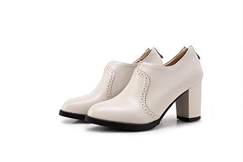 Talon VogueZone009 Beige Tire Haut Couleur à Chaussures Légeres Unie Rond Femme rSSvwqI