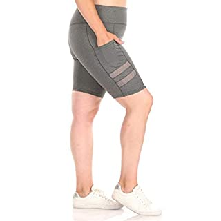 ShoSho Womens Plus Size High Waist Biker Shorts Tummy Control Yoga Bottoms W/Pockets & Side Mesh Panels Heather Grey 1X