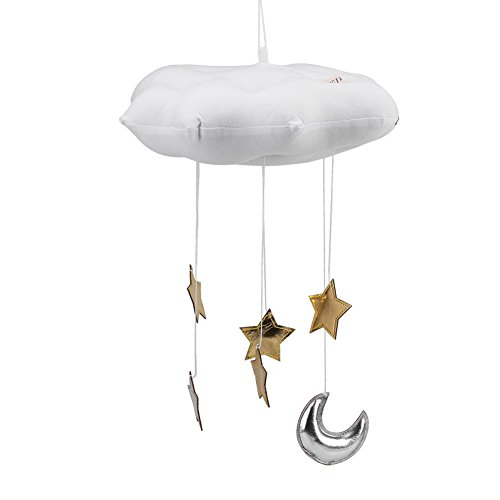 (Fdit Cloud Hanging Decoration Floating Cloud Pendant with Moon Stars Baby Crib Bed Room Play Tent Room Wall Art Decor(White) )