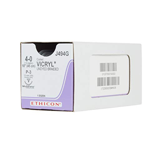 Ethicon Coated VICRYL (polyglactin 910) Suture, J494G, Synthetic Absorbable, P-3 (13 mm), 3/8 Circle Needle, Size 4-0, 18
