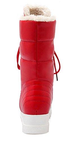 YE Damen Plateau Flache Warm Gefütterte Schneestiefel Winter Outdoor Stiefeletten mit Fell Nieten und Schnürung Bequeme Worker Boots Schuhe Rot