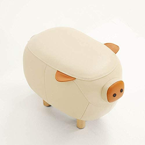 収納ベンチ 低スツールレザーリビングルームの家具ベッドルーム家具の完全な頭部動物の靴スツール 柔軟 多用途 (Color : White, Size : 53x32x38cm)