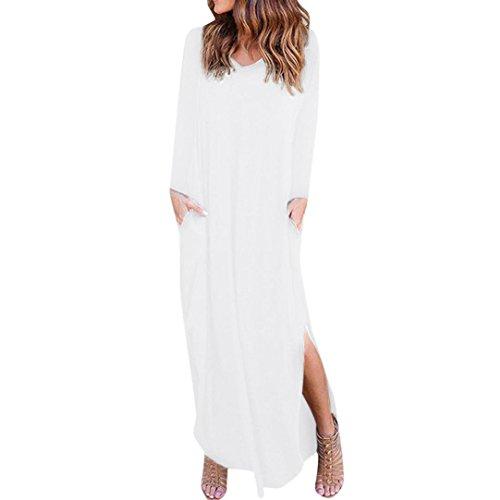 Vestido Z Maxi Vestido Noche Mujer Casual Bolsillo Blanco Manga LuckyGirls Verano Falda Larga Manga Sexy ❤️ Elegante Suelto de Playa Corta Irregular de Fiesta tqOnFR7xw
