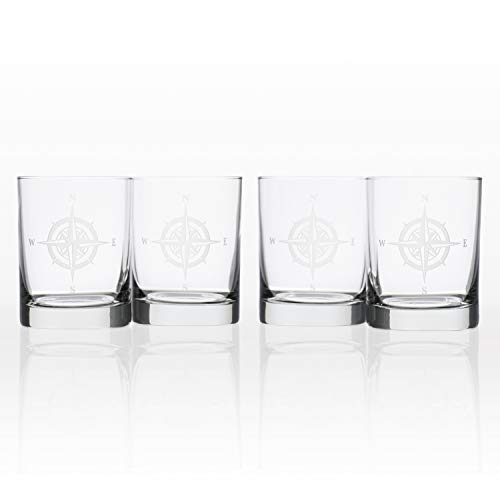 Rolf Glass Compass Rose Double Old Fashioned Glass, 14 Ounce, Set of 4