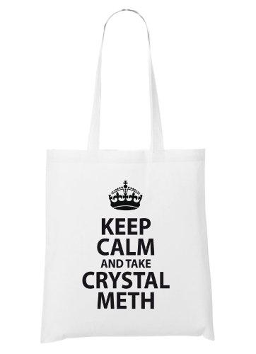 Keep Calm and Take Crystal Meth Bag White