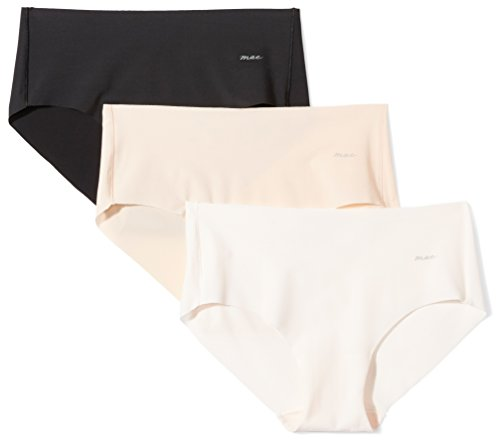 Mae Women's Sueded Infinity Edge Hipster, 3 Pack, Black/Toasted Almond/Pale Pink, Medium ()