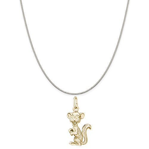 Rembrandt Charms Two-Tone Sterling Silver Gopher Charm on a Sterling Silver Box Chain Necklace, 16