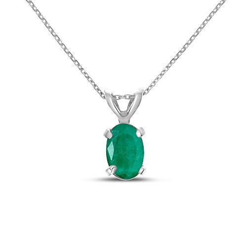 14k White Gold Oval Emerald Pendant with 18