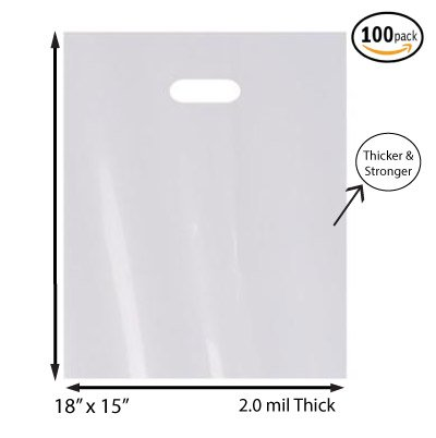 "100 Pack 15"" x 18"" with 2 mil Thick White Merchandise Plastic Glossy Retail Bags 