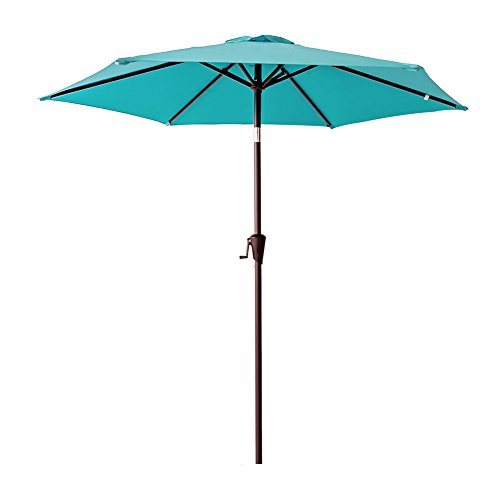 C-Hopetree 7'5″ Round Outdoor Patio Market Umbrella with Crank Winder, Push Button Tilt, Aqua Blue