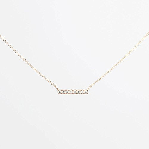 (Dainty Bar Necklace/Genuine Diamond Necklace/Simple Diamond Bar Necklace/Solid 14k White Gold, Rose Gold, Yellow Gold Necklace/Minimalist Necklace)
