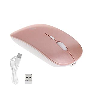 Feamos Ultra-thin Wireless Mouse Silent Mice 2.4GHz USB For Universal PC Laptop Computer For Home Office Student Christmas Gift (Rose Gold)