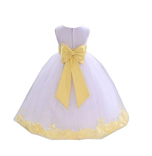 Flower Girl Dresses Yellow And White (White Tulle Rose Petals Flower Girl Dress Tulle Dress Christening Dress 302T)