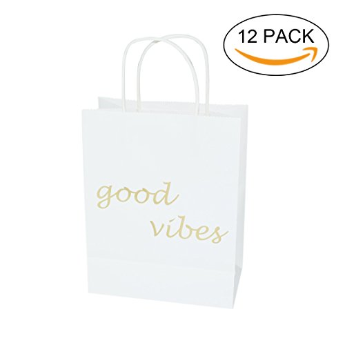 FOONEA 12 Pack Paper Bags, Good Vibes Gold Foil Printed with Handles, Wedding Welcome Gift Bags for Hotel Guests, Bridal Baby Shower Shopping Birthday Party Favors -