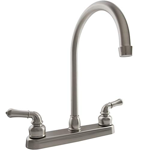 Dura Faucet (DF-PK330HC-SN) J-Spout RV Kitchen Faucet in Brushed Satin Nickel - Replacement Faucet for Motorhomes, 5th Wheel, Trailer, Camper