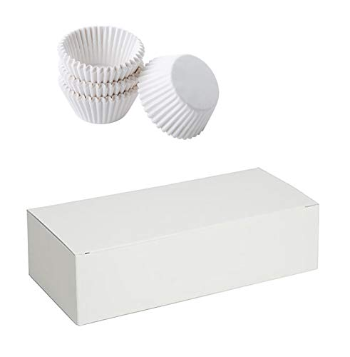 Mini Cupcake Liners White & Candy Nuts Box Packaging Bundle for Truffles, Cake, Chocolates, Wedding & Party Favors & Gifts. 24 Truffles Boxes 5.5
