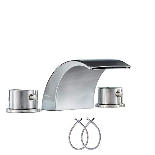- GGStudy Led Light 3 Colors Two Handles 3 Holes Widespread Bathroom Sink Faucet No Need Battery Faucets Brushed Nickel Finished