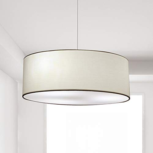 18inches 3-Light Modern Drum Chandelier Round Frosted Acrylic Diffuser, Semi-Flush Mount Stem-Hung with Adjustable Height, Chrome Finish
