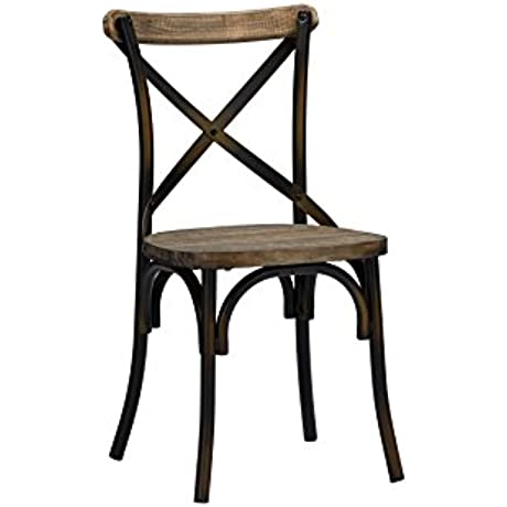 Baxton Studio Set Of 2 Konstanze Industrial Walnut Wood And Metal Dining Chairs In Antique Copper Finish