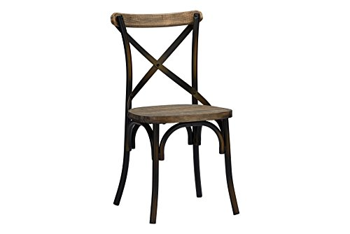 Baxton Studio Konstanze Industrial Walnut Wood and Metal Dining Chairs in Antique Copper Finish