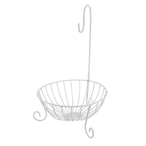 WINOMO Metal Fruit Basket with Detachable Holder Hook (White)