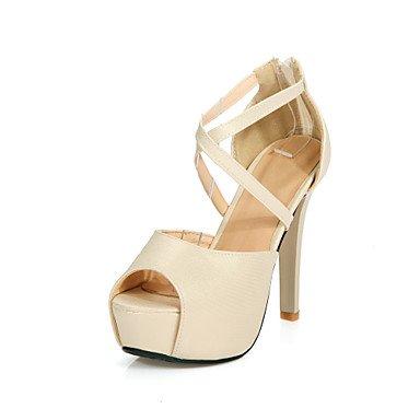 LvYuan Mujer-Tacón Stiletto-Confort Tira en el Tobillo Zapatos del club-Sandalias-Boda Vestido Fiesta y Noche-PU-Rosa Plata Oro Silver