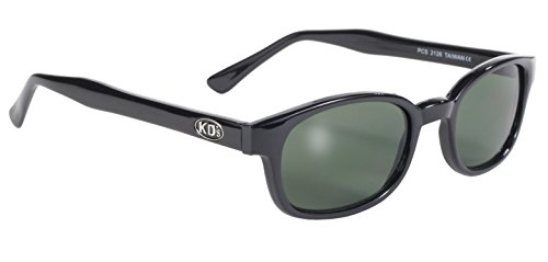 Pacific Coast Original KD's Biker Sunglasses (Black Frame/Dark Green - Fitting Sunglass