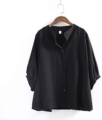 ALEIGEI Camisas de Manga murciélago para Mujer Estilo japonés Negro Blanco Primavera Blusas Nuevas Algodón Lino Media Manga Suelta Camisas Casuales Talla única Negro: Amazon.es: Deportes y aire libre
