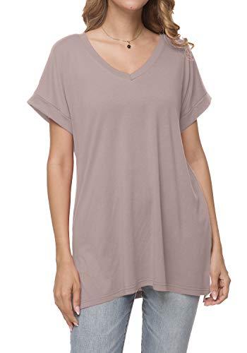 Womens Summer Plain Short Sleeve Tunic Tee Shirt Tops Sweatshirt Khaki S