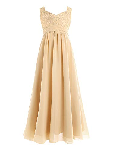 CHICTRY Youth Big Girls Junior Chiffon Lace Wedding Party Bridesmaid Ball Gown Maxi Long Flower Dress Champagne 12 -