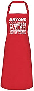 Anyone can cuddle,but only the welsh can CWTCH Red Apron, Funny Welsh, Wales Apron BBQ, Party Red Bib Apron (Red) (Red)