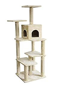 AmazonBasics Extra Large Cat Tree Tower with Cave And Scratching Post - Beige