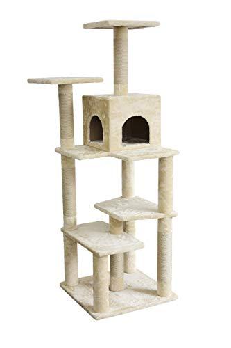 AmazonBasics Cat Tree with Cave - X-Large, Beige