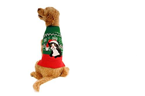 Alex Stevens 100-Percent Cotton Fairisle Sad Cat Doggie Apparel Clothing Mock Turtleneck Sweater, Large For Sale