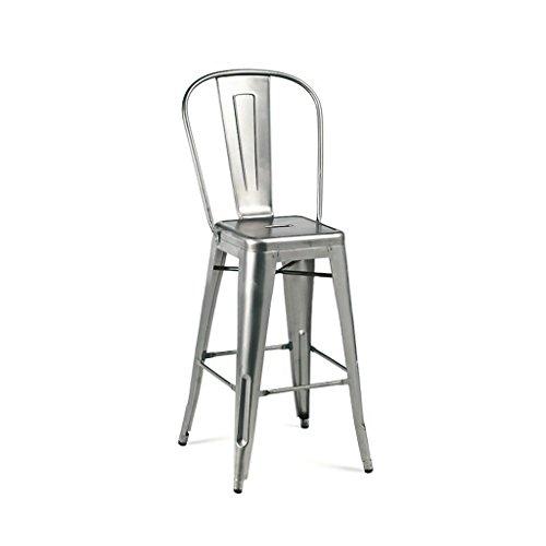 Design Lab MN Dreux Gunmetal High Back Steel Counter Stool 26 Inch (Set of 4) For Sale