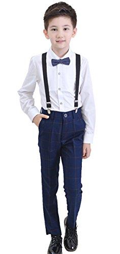Boys Suits 4 Pieces: Pinstripe/White Shirt & Navy/White/Plaid Pants & Bow Tie & Suspenders (8, Plaid Pants)