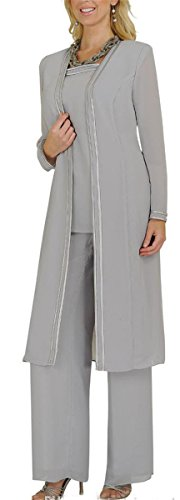 Fancygowns Plus Size Mother Of the Bride Dress With Pants Suits Jacket 18 Silver