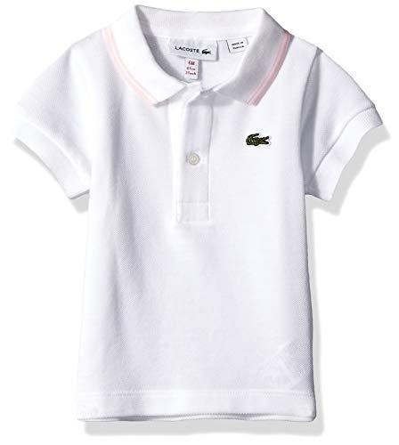 Lacoste Baby Infant Layette Short Sleeve Pique Semi Fancy Polo Gift Box, White Flamingo, 6 - Layette Baby Fancy