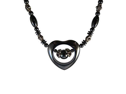 Zen Canyon Magnet Health Therapy Magnetic Hematite Heart Shaped Pendant Charm Necklace, 18