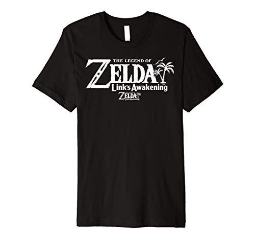 Legend Of Zelda Links Awakening Palm Tree White Text Logo Premium T-Shirt (Trees Two Palm Logo)