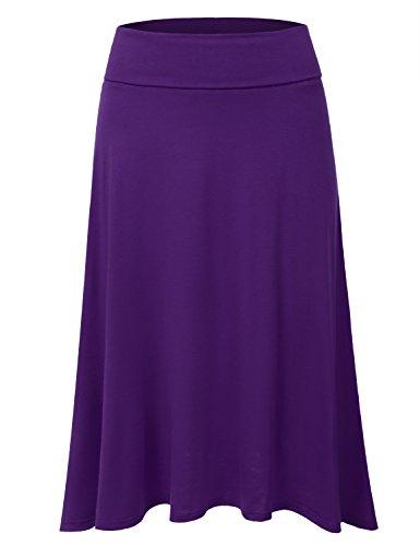 JJ Perfection Women's High Waist Elastic Flared Midi Skirt Purple 3XL ()