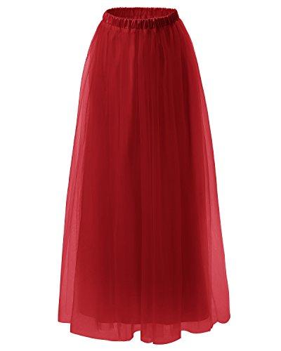 50 tutu Fonc longueur vintage sol annes ras du en Rockabilly jupe Dresstells tulle Rouge qpw4tat65