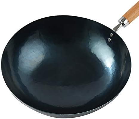 Wok Pan, Iron Wok main Grand Wok et poignée en bois antiadhésif Wok Batterie de cuisine, 32cm (Color : B, Size : 34 * 10cm)