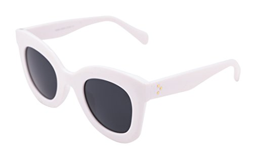 FEISEDY Oversized Square Men Women Sunglasses Thick Plastic Frame - Cateye White Sunglasses