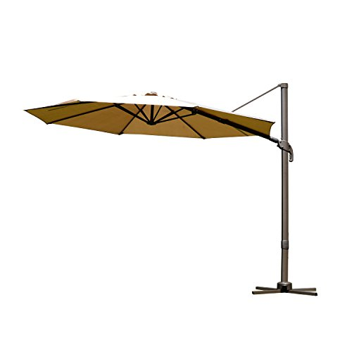 Outsunny 9.5' Offset Market Patio Umbrella w/Tilt and Crank - Khaki