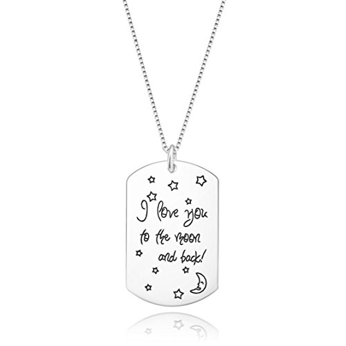 Fine Jewelry Sterling Silver ''I Love You to the Moon and Back'' Charm Pendant Necklace, 18 inches (Style 10) by SILVERLUXY