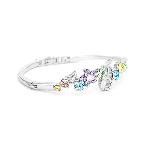 Glamorousky Elegant Flower Bangle with Multi-Color Austrian Element Crystals 1601