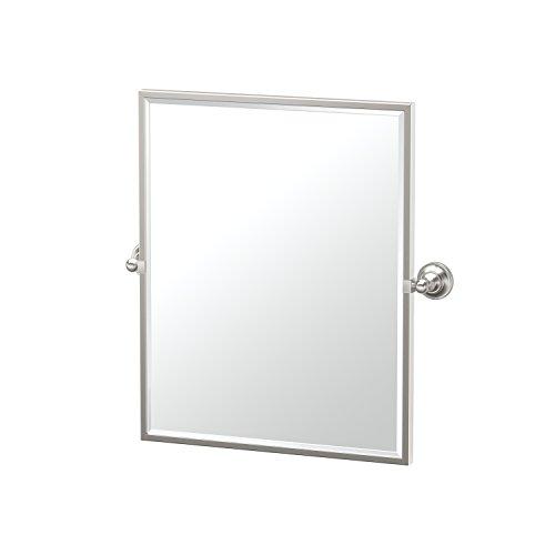 (Gatco 4339FSM Tiara Satin Nickel Framed Small Rectangle Mirror, 25